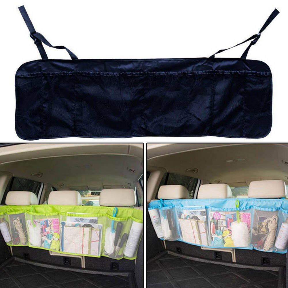 Bruselas08 6 bolsillos de alta capacidad para asiento de coche, organizador para colgar en la parte trasera del coche, soporte de viaje, bolsa de almacenamiento de carga, contenedor de contenedor, bolsa de basura, se adapta a cualquier coche, azul, Medium