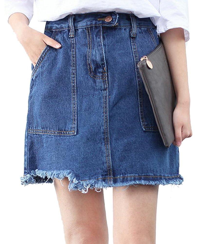 Lingswallow Womens High Waist Slim Fit Casual Blue Denim Jean Mini Skirt