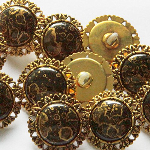 "Gemstone Buttons (Fancy & Decorative {25mm w/ 1 Back Hole} 8 Pack of Large Size Round ""Popper Shank"" Sewing & Craft Buttons Made of Acrylic Resin w/ Intricate Border Faux Gemstone Design {Gold & Black Color})"