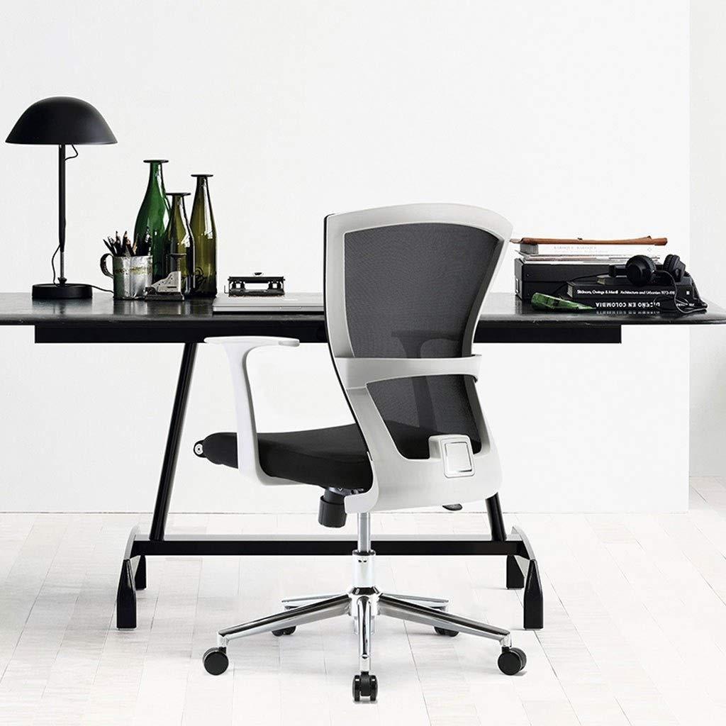 JIAJULL kontorsstol, uppdrag svängbara verkställande stolar, nät skrivbordsstol med armstöd för datorskrivbord, ryggstöd, stålram, hög rygg, ergonomisk Svart Vitt