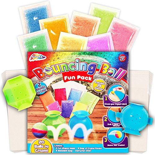 Deluxe Bouncy Balls Craft Kit for Kids -- Makes 20 Bouncy Balls, 2 Styles (Make Your Own Bouncy Balls, Party (Craft Kids)
