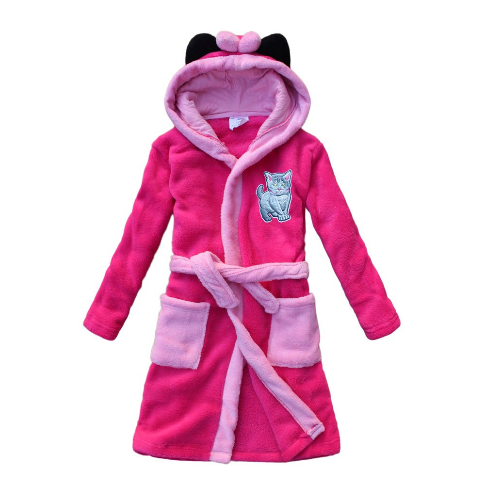 feetoo 2018 Cute Cat Embroidery Girls Bathrobe Plum Red Coral Velvet Children's Robes