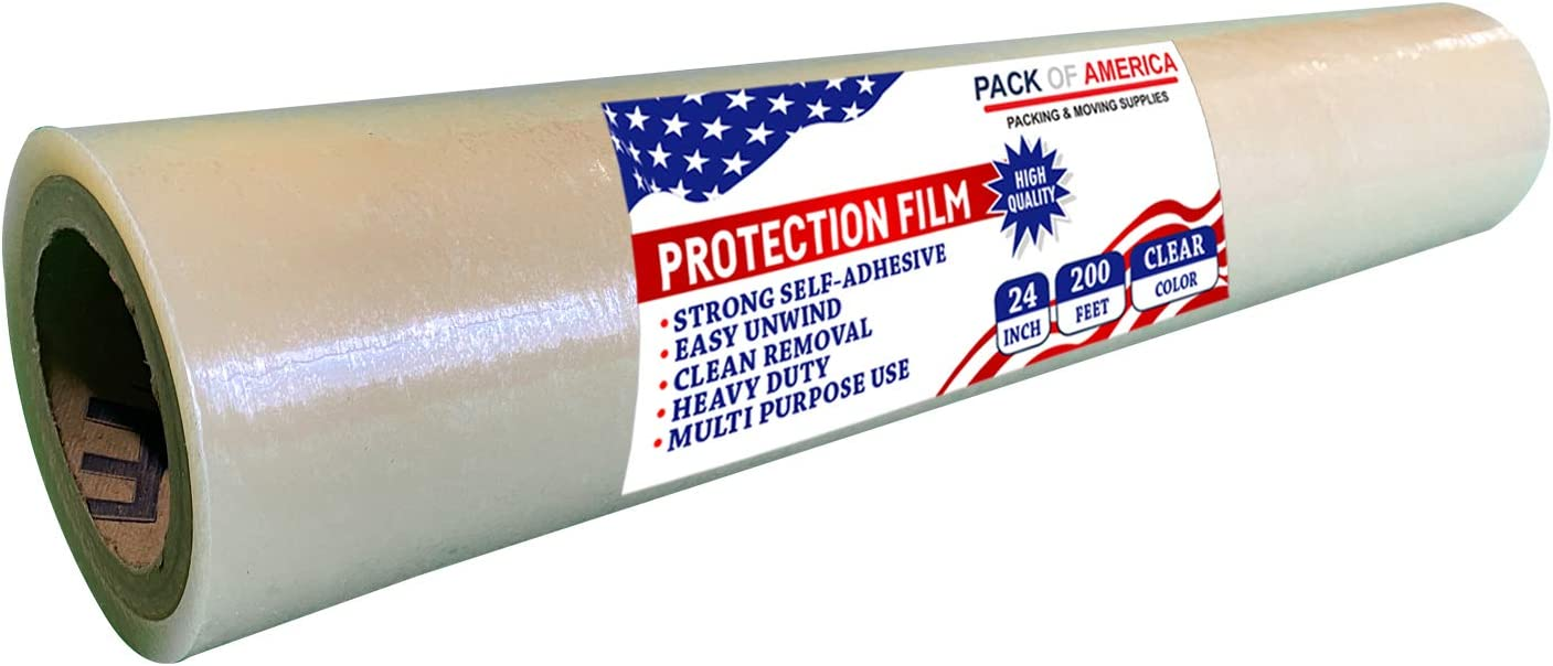 Pack of America Surface Protector Film - Clear, 24 Inch x 200 Feet, Strong and Durable Plastic Protective Tape Roll for Hard Floors Wood, Glass, Furniture, Carpet, Rug, Stairs, Countertop Protection