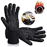 Tuffinno BBQ Grill Gloves Heat Resistant Anti Hot Kitchen Oven Pot Holder Silicone Non-Slip Glove with Fingers for Cooking, Barbecue, Baking, Welding,Fireplace, Cutting and Outdoor Camping(Black)