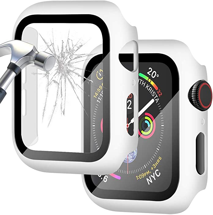 Falandi White Hard Case Compatible with Apple Watch Series 3/2/ 1, 38mm Case with Screen Protector, Matte White Thin Hard Cover Bumper Tempered Glass Full Coverage Protective for iwatch, White
