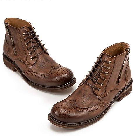 MERRYHE Botines para Hombre Botines De Cuero Genuino con Cordones Martin Boot Zapatos De Trabajo Casuales Zapatos De Vestir Formales Calzado De Vaquero ...
