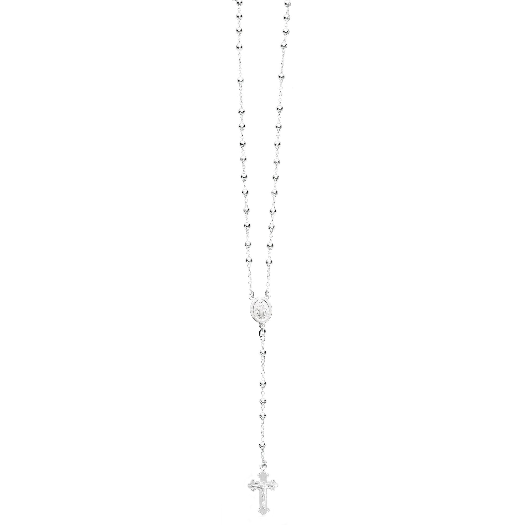 Ritastephens Sterling Silver or Gold-tone Rosary Bead Necklace Virgin Mary Cross Made in Italy (30 Inches) by Ritastephens