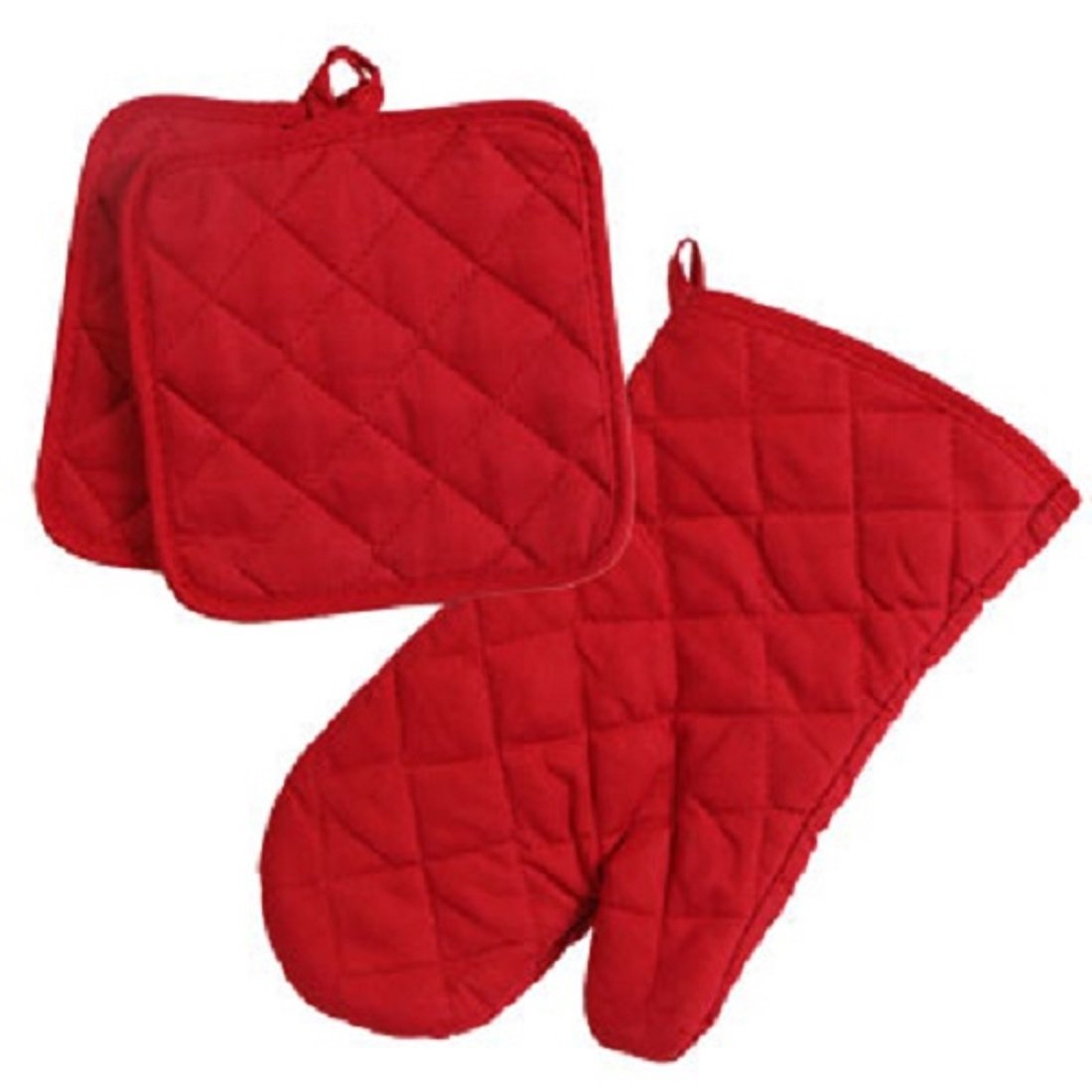 Home Collection Red 3pc Set Oven Mitt & Potholders