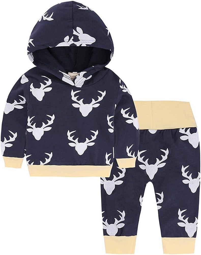 Baby Boy Girl 2pcs Baby Shower Suit Hoodies Deer Print Long Sleeve Top+Long Pants