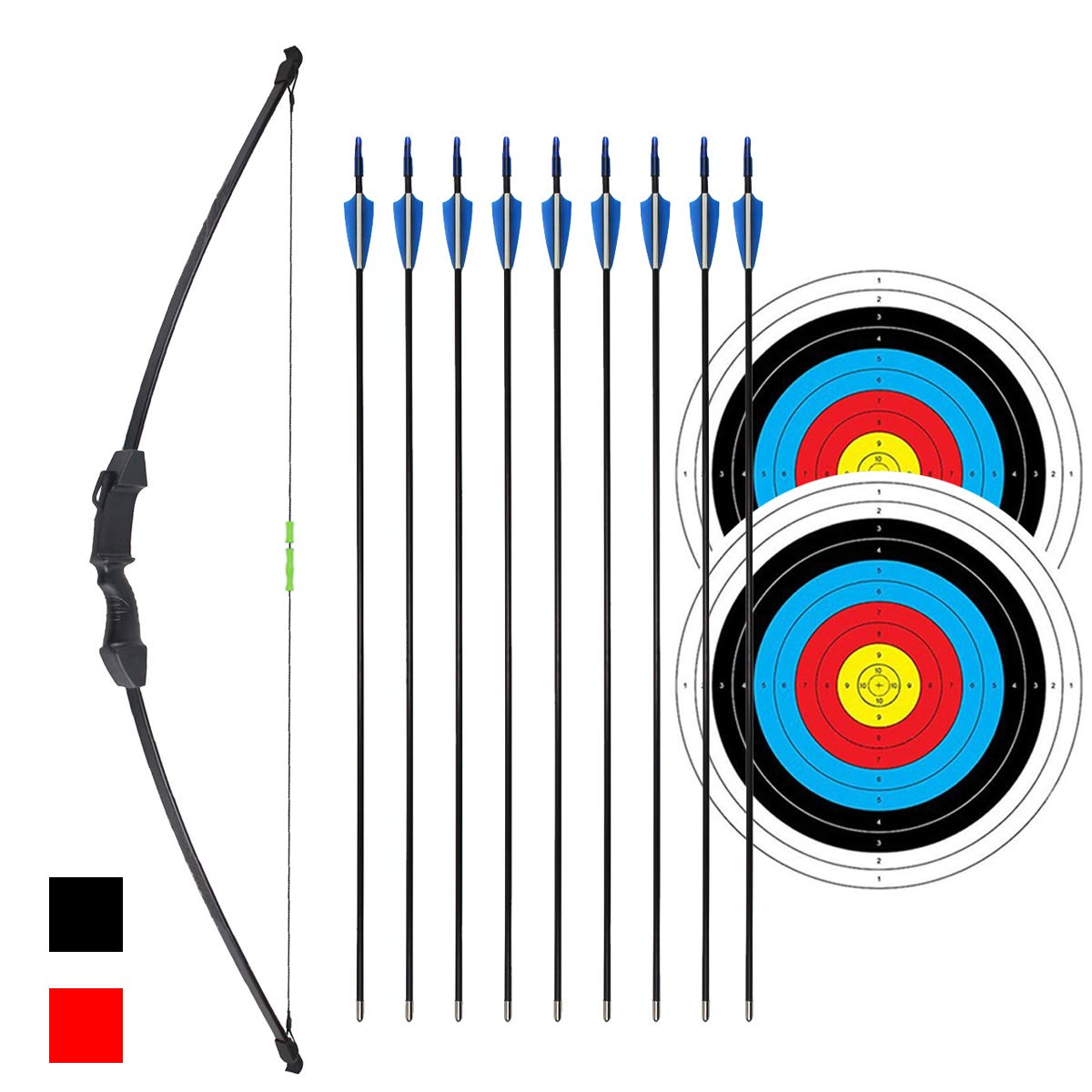 iMay 45'' Bow and Arrows Set with 9 Arrows 2 Target Faces for Teens Outdoor Archery Beginner Gift Recurve Bow Longbow Kit (Black)