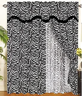 Zebra Animal Curtain Set w/ Valance/Sheer/Tassels