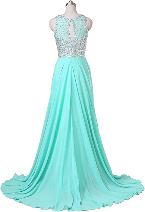 Chiffon Long Prom Dresses With High Neck & Beaded Mesh Bodice (31 Colors)
