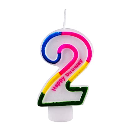 Amazon Willcan Number 2 Colorful Birthday Candles Classic Happy Cake Toppers For Party Celebration And Decoration With Letter Printing