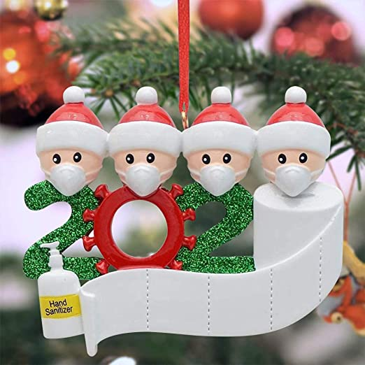 amazon com kazolen 2020 pandemic christmas ornaments personalized quarantine souvenir with toilet paper hand sanitizer hanging figurine christmas decorations humorous family of 4 kitchen dining kazolen 2020 pandemic christmas ornaments personalized quarantine souvenir with toilet paper hand sanitizer hanging figurine christmas decorations