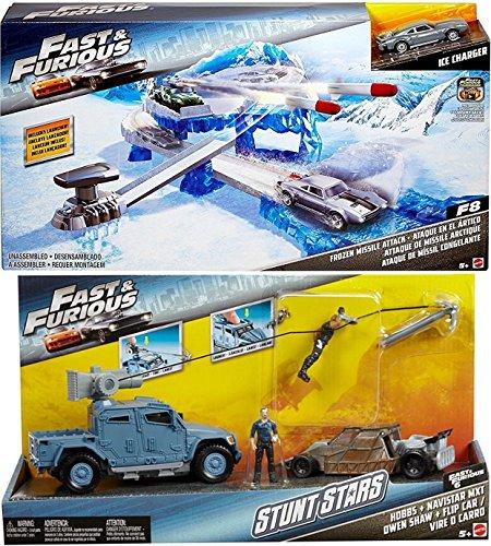 2017 Fast & Furious Street Scenes Frozen Missile Attack Vehicle The Fate of the Furious & Fast & Furious Deluxe Stunt Stars 2-Pack