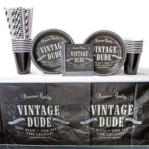 Vintage Dude Party Supplies Pack for 16 Guests Includes: Straws, Dessert Plates, Beverage Napkins, Cups, and Tablecover (Bundle for 16) -