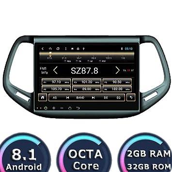 Android 8.1 Auto Estéreo para Jeep Compass 2016 2017 2018 Radio para Coche Reproductor GPS 32GB