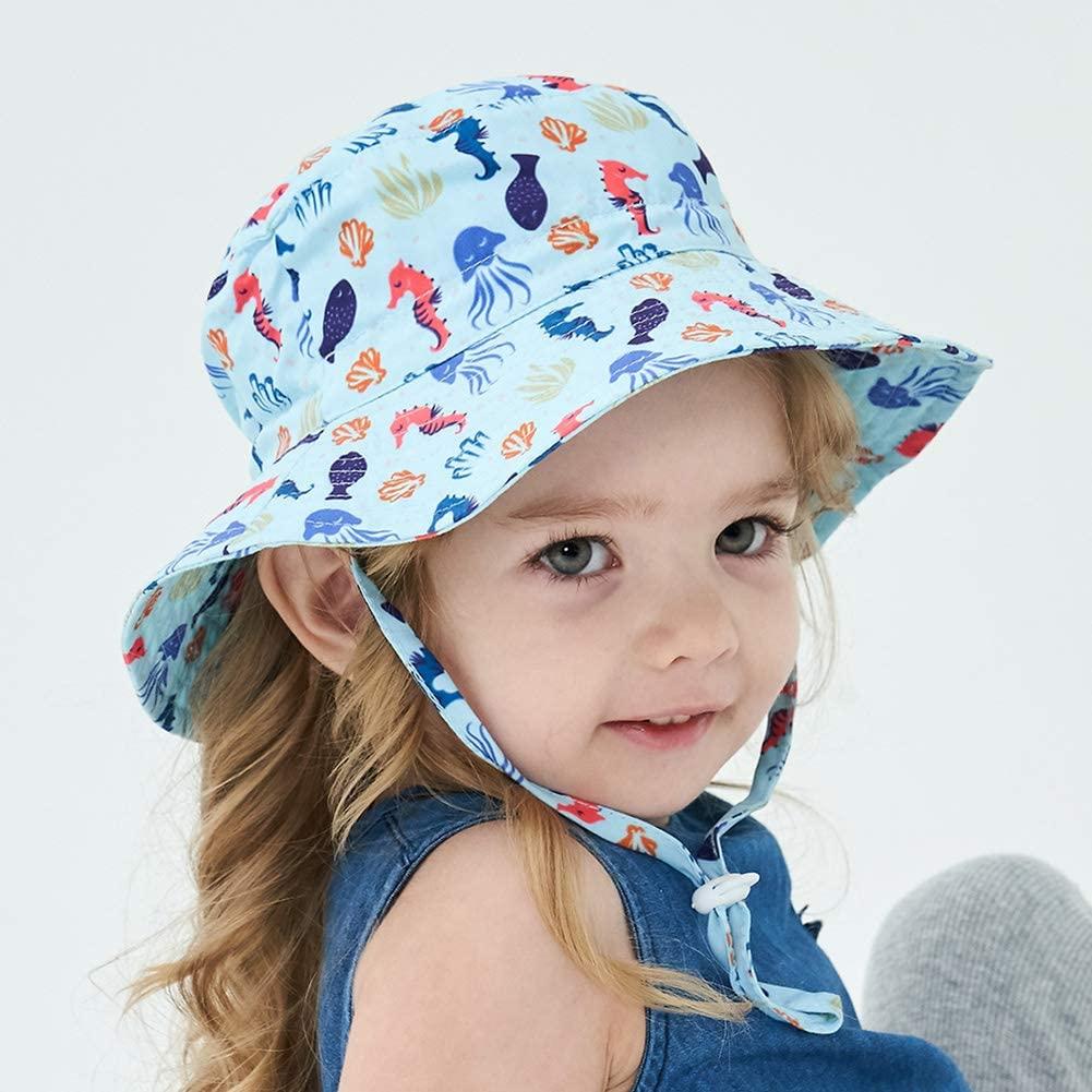 iClosam Kids Sun Hat UPF 50 6 Months-5 Age Foldable Beach Travel Flap Hat with Adjustable Straps Quick Dry Sunhat for Girls Boys Baby Toddler
