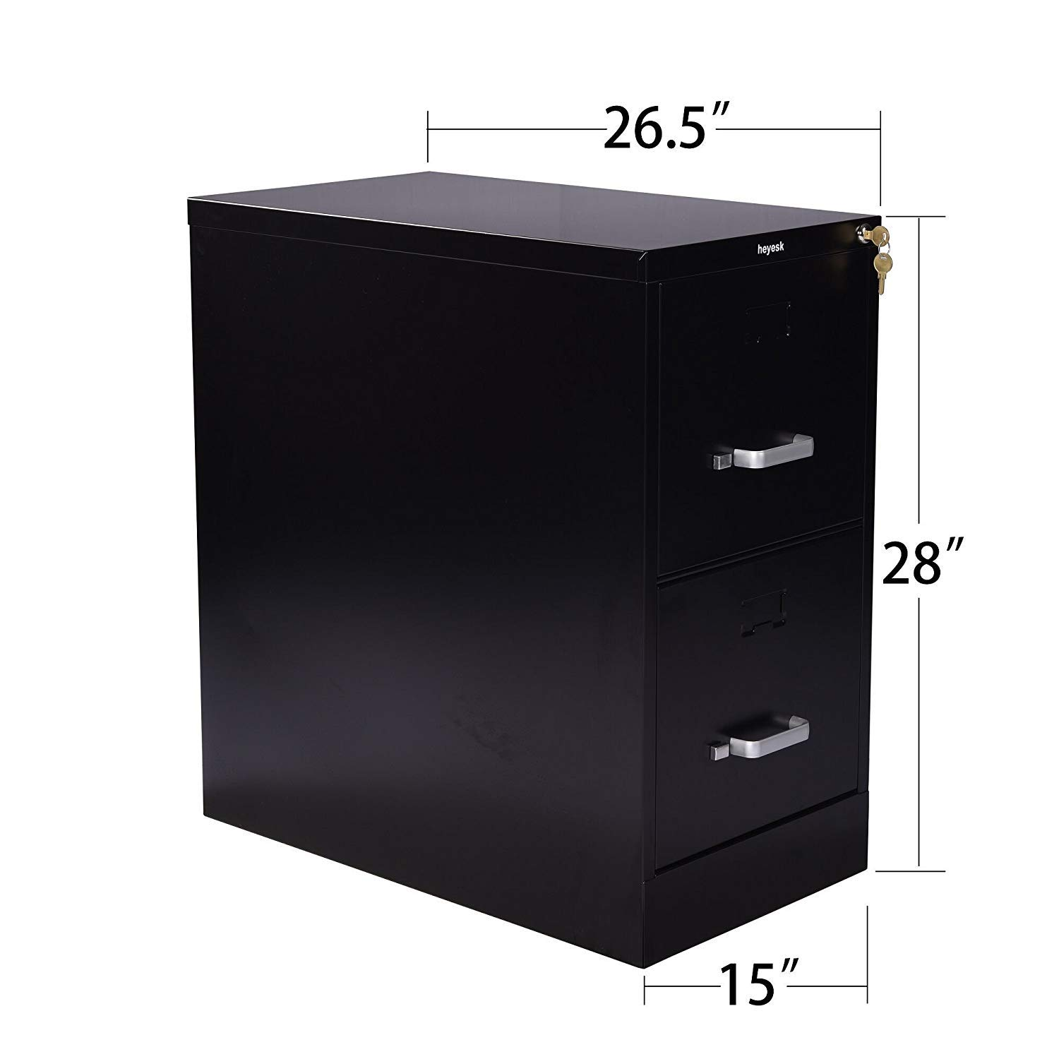 Vertical File Cabinet Modern Metal 2 Drawer with Lock Letter-Size 26.5 Deep Black