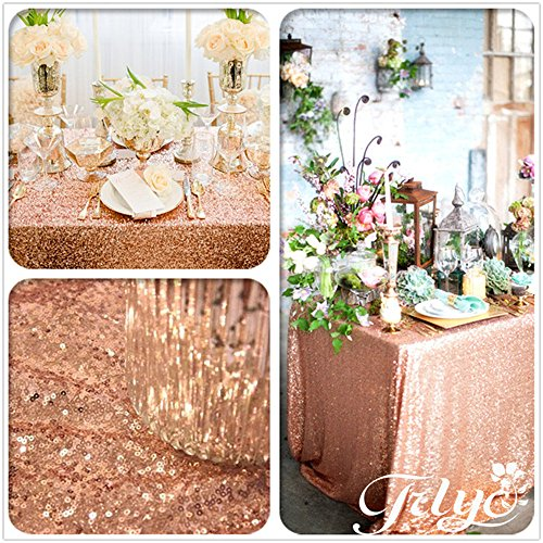 """TRLYC Champagne Rose Gold 60"""" 120"""" Sequin Tablecloth for Wed"""