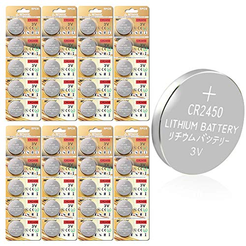GutAlkaLi CR2450 Lithium 3V Battery, Electronic Coin Cell Button for Toys Calculators Watches (40 Pcs)