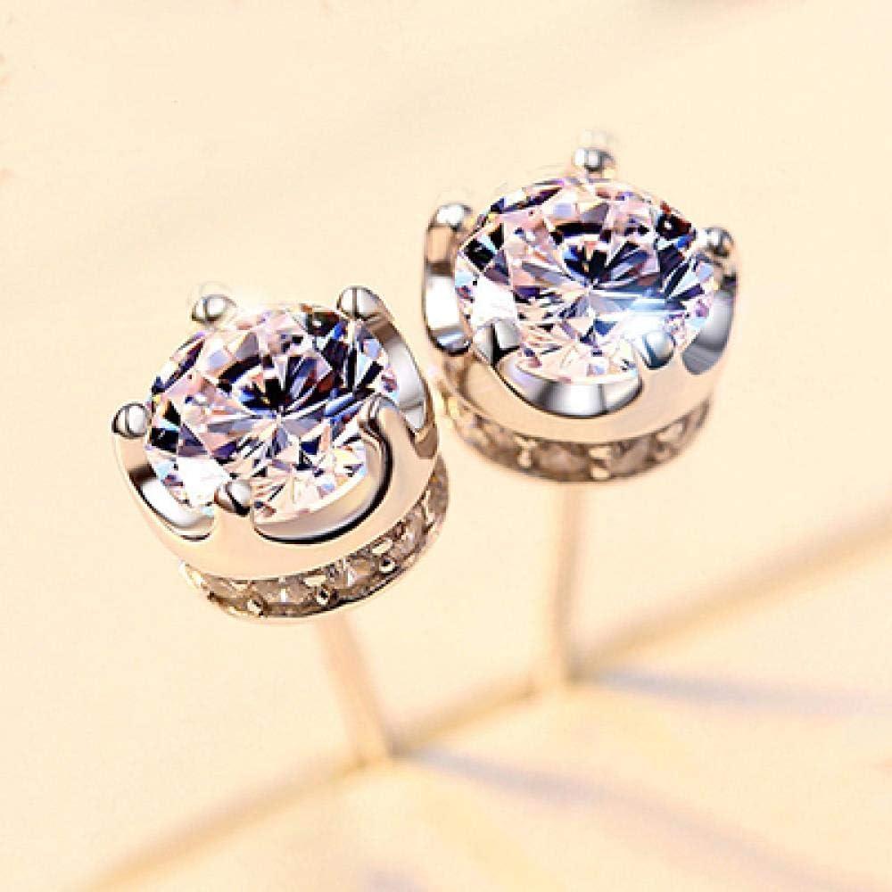 NOBRAND Pendientes de botón de Amatista púrpura Natural para Mujer Pendientes de joyería de Fiesta de Boda de Corona de Plata esterlina 925 Reales