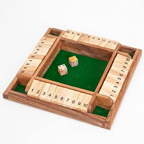 Bits And Pieces   4 Player Shut The Box Wooden Table Game   Classic Box And