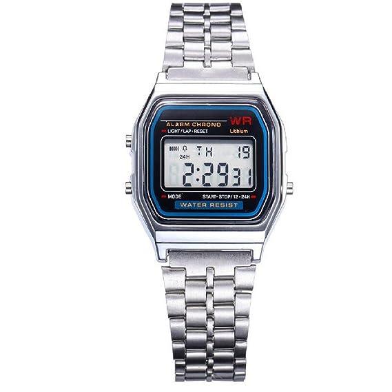 joyliveCY moda pareja reloj Digital reloj cuadrado Militar hombre/mujer acero inoxidable LED relojes deportivos Relogio Masculino Plata: Amazon.es: Relojes