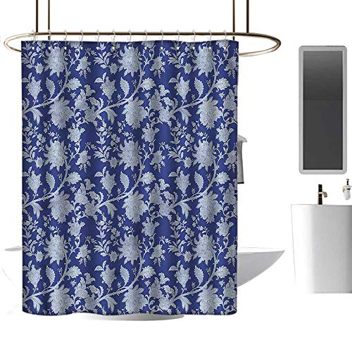 TimBeve Shower Curtain Hooks Floral,Middle Eastern Flowers,Hand Drawing Effect Fabric Shower Curtains 60