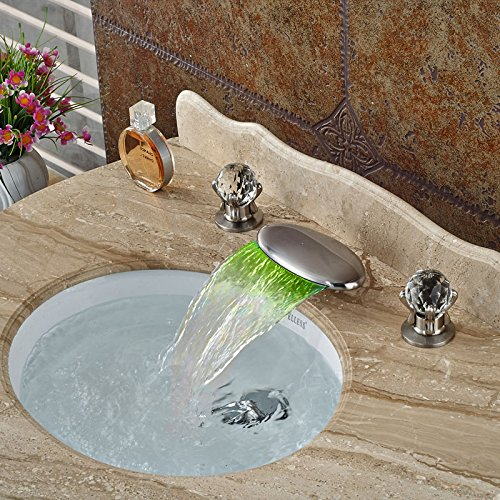 CZOOR Waschbecken Mischer-Hahn-LED-Licht-Wasserfall Spout Nickel gebürstet Deck montiert Basin Sink Countertop-Hahn mit Dual Griffe