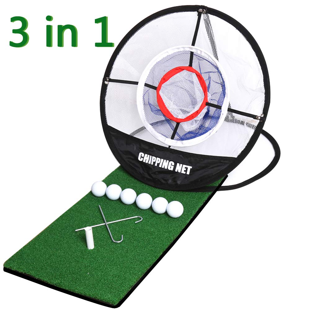 Golf Mat 12''x24''|Pop Up Golf Chipping Net|Realistic Fairway | Collapsible Golf Chipping Net,Portable Driving,Chipping,Golfing Target Accessories,Training Aids | Backyard & Indoor Practice Swing Game