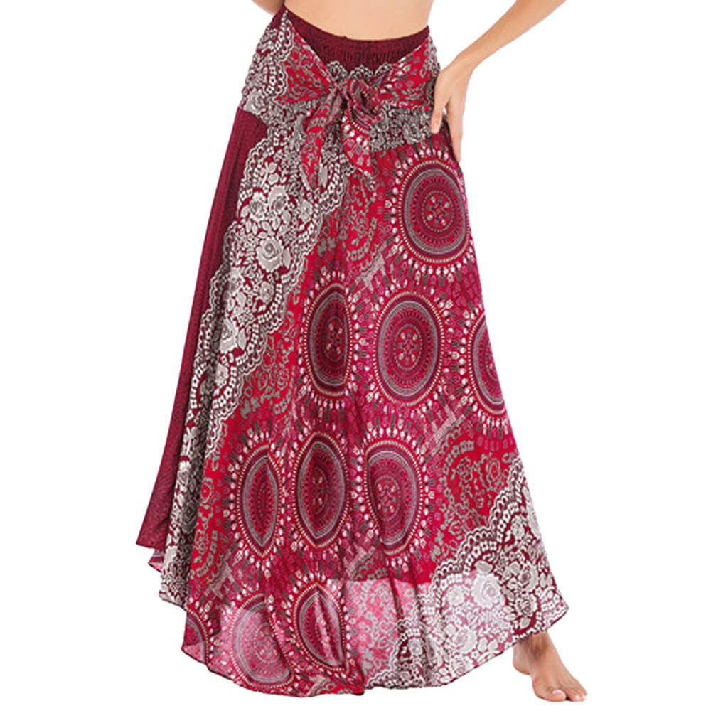 Tantisy ♣↭♣ Women's High-Waisted Boho Asymmetrical Hem Tie up Long Maxi Print Wrap Skirt Ladies Flowy Chiffon Beach Skirts Red