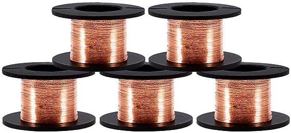 5 Rollos de 0.1 mm en Diámetro Cobre Alambre esmaltado Alam