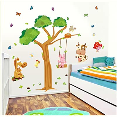 Amaonm Cartoon Jungle Wild Animals Party Wall Decals Wall Stickers Murals Wallpaper for Kids Bedroom Nursery Classroom Removable Cute Cattle Hippocampus Butterfly Rabbit Duck with a Huge Green Tree: Home & Kitchen