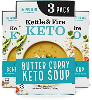 product image for Keto Soup by Kettle and Fire, Butter Curry, Pack of 3, Gluten Free, Paleo Friendly, Collagen Soup on the Go, 8g of Protein, 16.9 fl oz