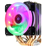 Richer-R 静音CPUクーラー カラフルなライトCPUラジエーター 4ヒートパイプ90mm空冷ファン Intel AMD対応