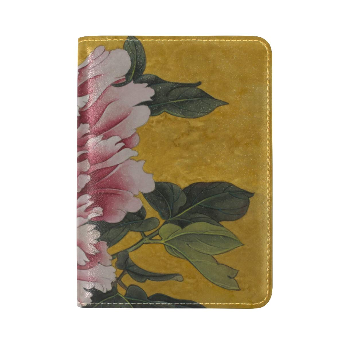 Delicate Flower Peony Yellow Background One Pocket Leather Passport Holder Cover Case Protector for Men Women Travel