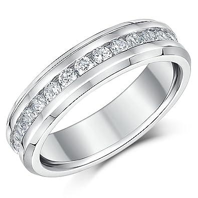 Anillo de boda de titanio con piedras cúbicas de circónita de eternidad de 6 mm: Amazon.es: Joyería