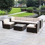 MAGIC UNION Outdoor Patio PE Rattan Wicker Cushion Patio Furniture 7 Pieces Sofa Set