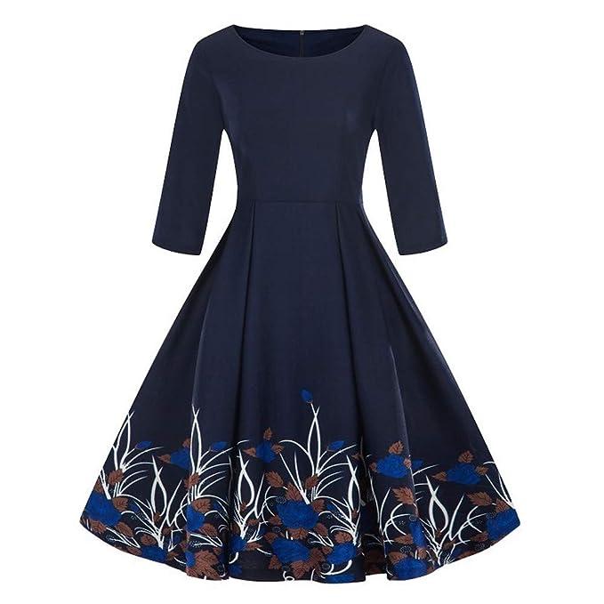Amazon.com: GREFER Ladies Retro Plus Size Dress Fashion ...