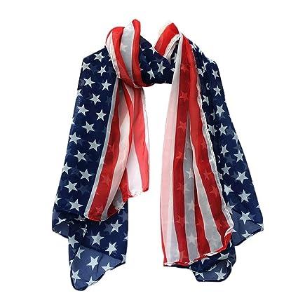7754dc273937 Amazon.com  Women Fashion American Flag Soft Silk Chiffon Scarf ...