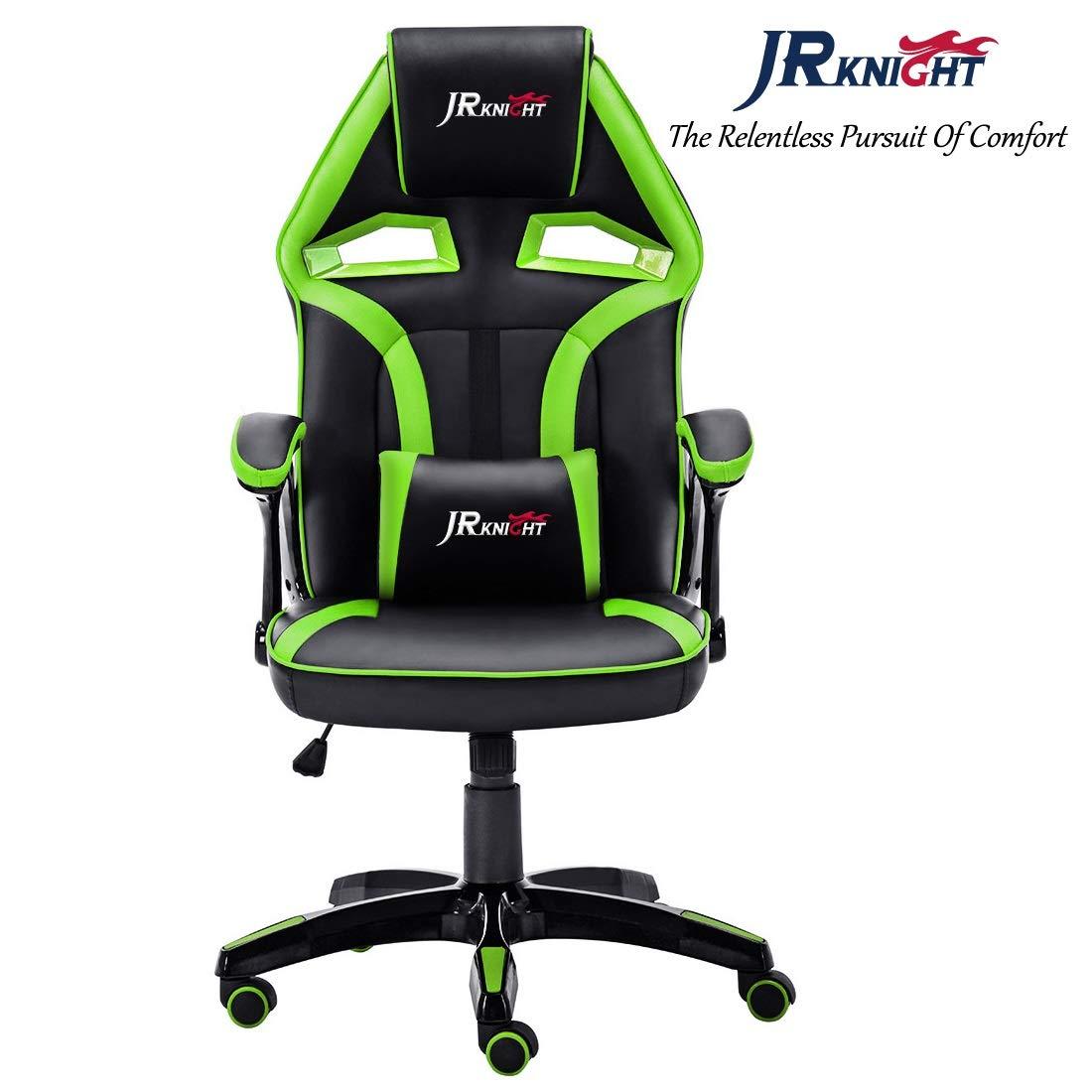 JR Knight - Silla estilo deportivo, oficina en casa, gaming, silla giratoria exclusiva de piel, color Black&Green: Amazon.es: Hogar