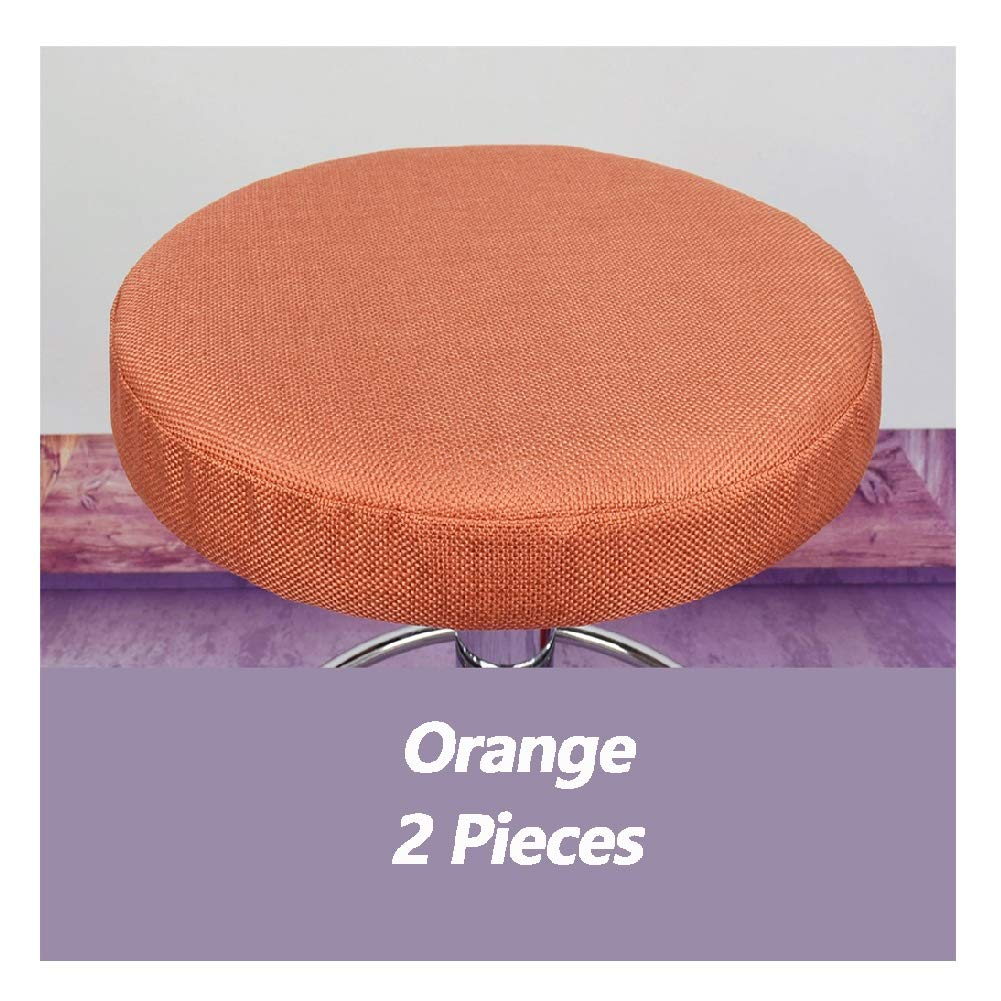 Barstool Cover Dust-Proof Protective Anti-Slip Comfort Round Bar Stool Slipcover For Dining Room Hotel Computer Office Chair Covers 2 Pieces Home Decoration ( Color : Orange , Size : Diameter 33 cm ) by MUCC