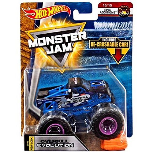 Hot Wheels MONSTER JAM EPIC ADDITIONS OVERKILL EVOLUTION WITH RE-CRUSHABLE CAR