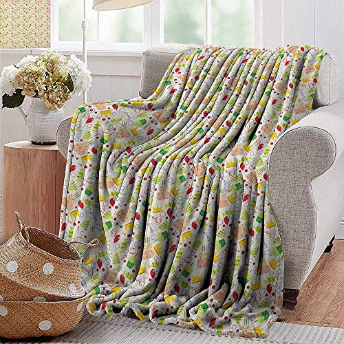 XavieraDoherty Swaddle Blanket,Birthday,Doodle Style Pattern for Special Occasions Red Balloons Cake with Candles Candies, Multicolor,Lightweight Extra Soft Skin Fabric,Not Allergic 35