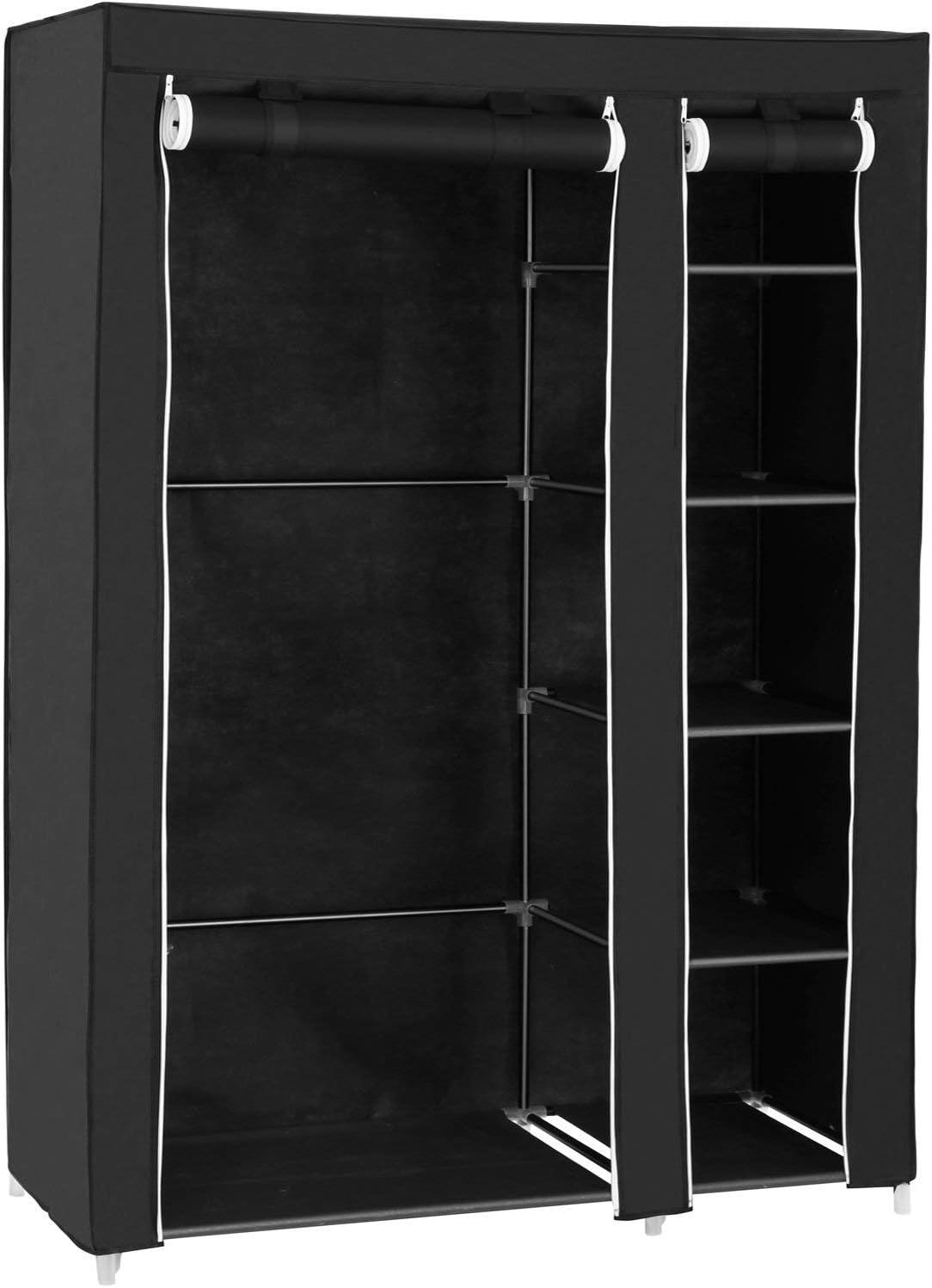 SONGMICS Armario de Tela, Organizador Textil Plegable, Zapatero, 175 x 110 x 45 cm, Color Negro LSF007