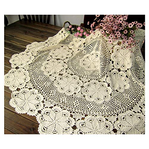 DHmart 80/100/ 120/140/160CM RD Shabby Chic 5 Sizes Vintage Crocheted Tablecloth Handmade Crochet Coasters Cotton Lace Cup Mat ()