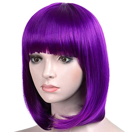 """Short Bob Hair Wigs With Bangs Synthetic 12"""" Straight Halloween Cosplay Costume Wigs For White Black Women Free Cap (Purple) by Shebeauty"""