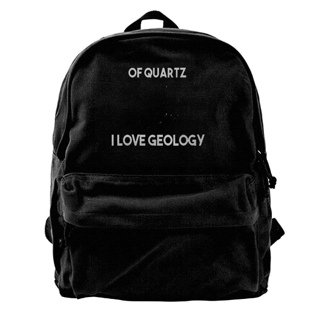 AiLe HLOL of Quartz I Love Geology Fashion Canvas Shoulder Backpack for Men & Women Teens College School Bag Travel Daypack Bags Black