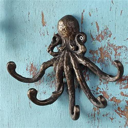 "Nautical Sea Creature Kraken Rustic Decor 6.5"" Cast Iron Octopus Wall Hook"
